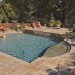 Amazing Dual-tier Pool Deck Done in Flagstone