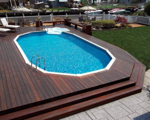 Dodecagon 12 sided pool deck with hard wood decking for Rectangle above ground pool hard sided