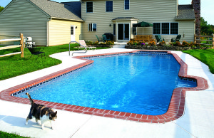 Nice pool in the backyard of a yellow house in VA