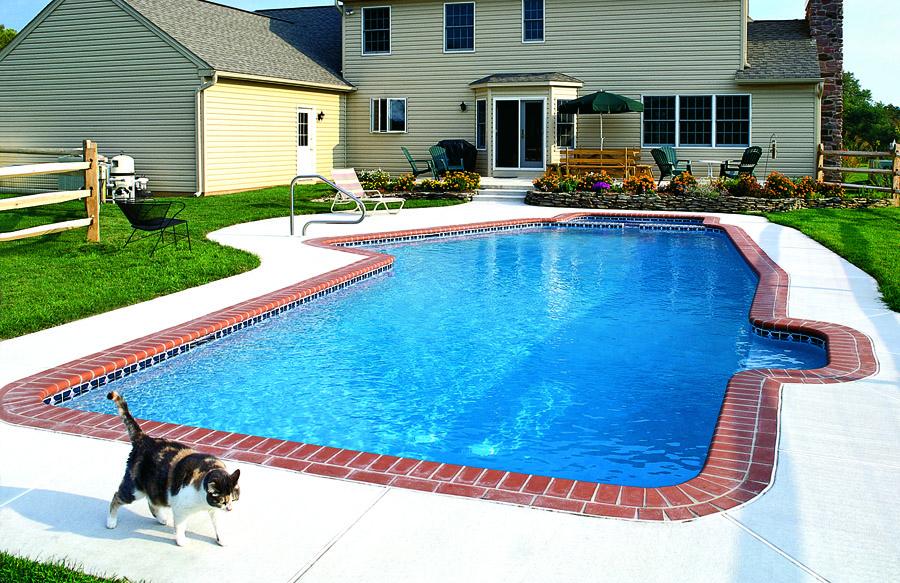 Nice Pool Backyards : Nice pool in the backyard of a yellow house in VA