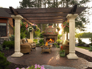 Sunset enjoyment and outdoor times with columns