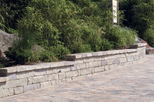 Long Chapel stone retaining wall and paver patio in Maryland and Northern VA