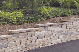 An example of a long retaining wall along a driveway in Fairfax Virginia