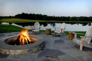 ariegated Bluestone Irregular Flagstone Terrace and Select Bluestone Slab Pool Coping
