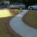 Brick and Concrete Walkway to Driveway