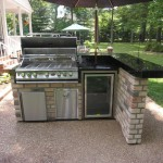 Simple and Beautiful Brick and Black Marble Outdoor Kitchen