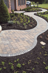 long-curvy stone garden walkway in northern va