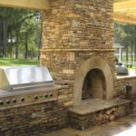 Beautiful Outdoor Fireplace, Grill and Bar