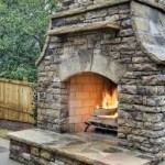 Traditional Stone Outdoor Fireplace