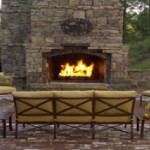 Cozy Outdoor Stone Fireplace