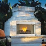Contemporary White Brick Outdoor Fireplace