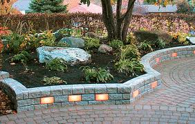 Unique Low Retaining Wall with Lights