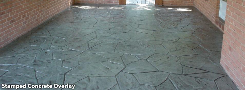 Stamped Concrete Veneer : Brick walls on top of stamped concrete