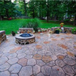 Fireplace and backyard with huge stamped concrete
