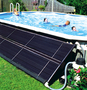 Utilize a solar panel to heat small pools outdoors