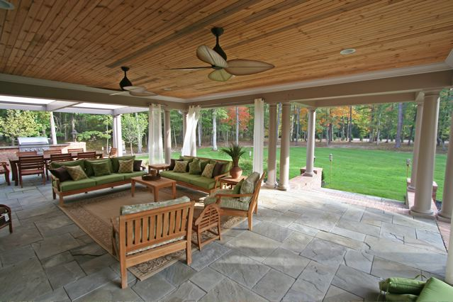Slate Outdoor Patio With Living Area Wooden Ceiling