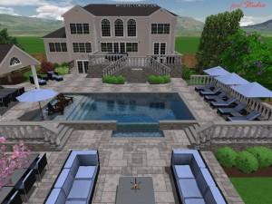 3D rendering with stonework and pool