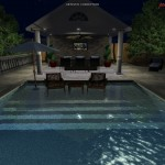 Relax with your feet in the pool at night