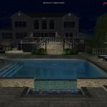 Nightime 3D Backyard Rendering