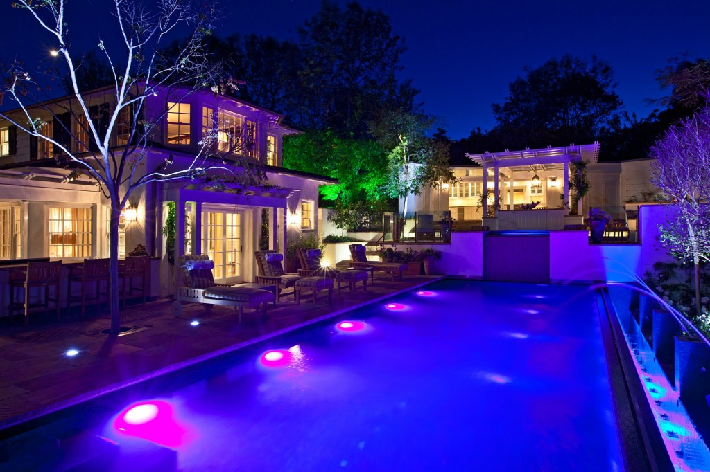 Outdoor audio video environment by the pool