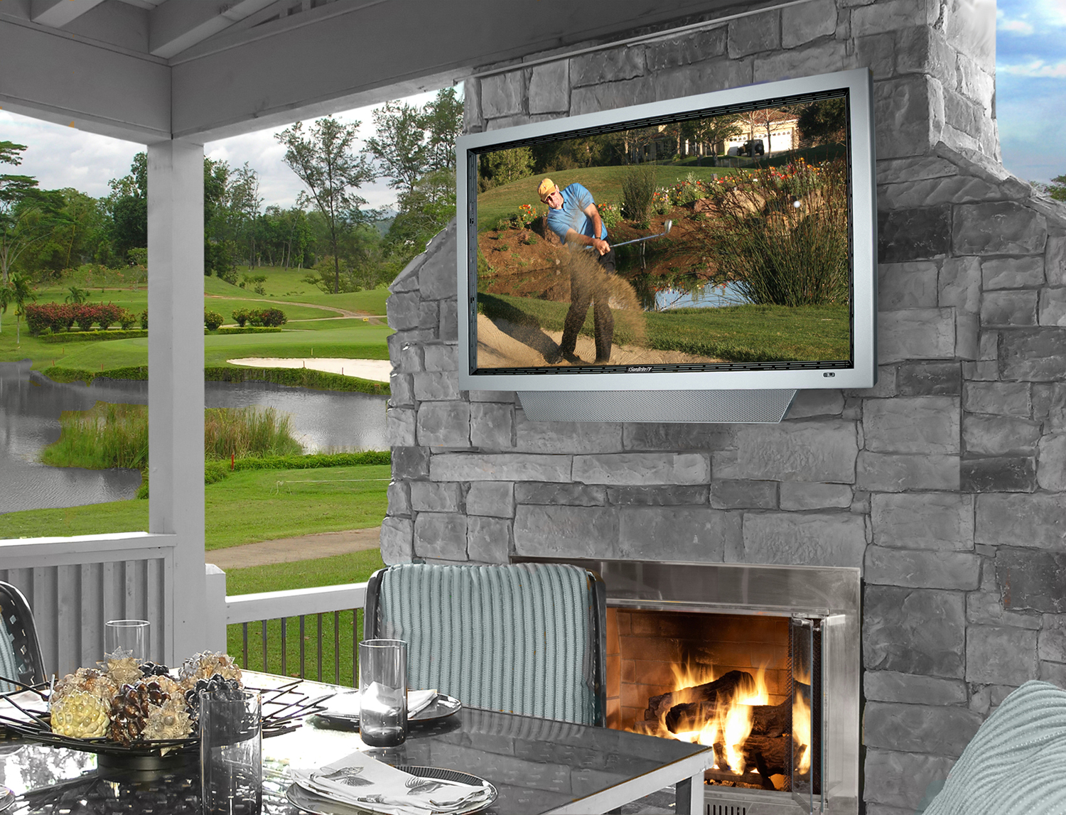 Outside Tv And Fireplace