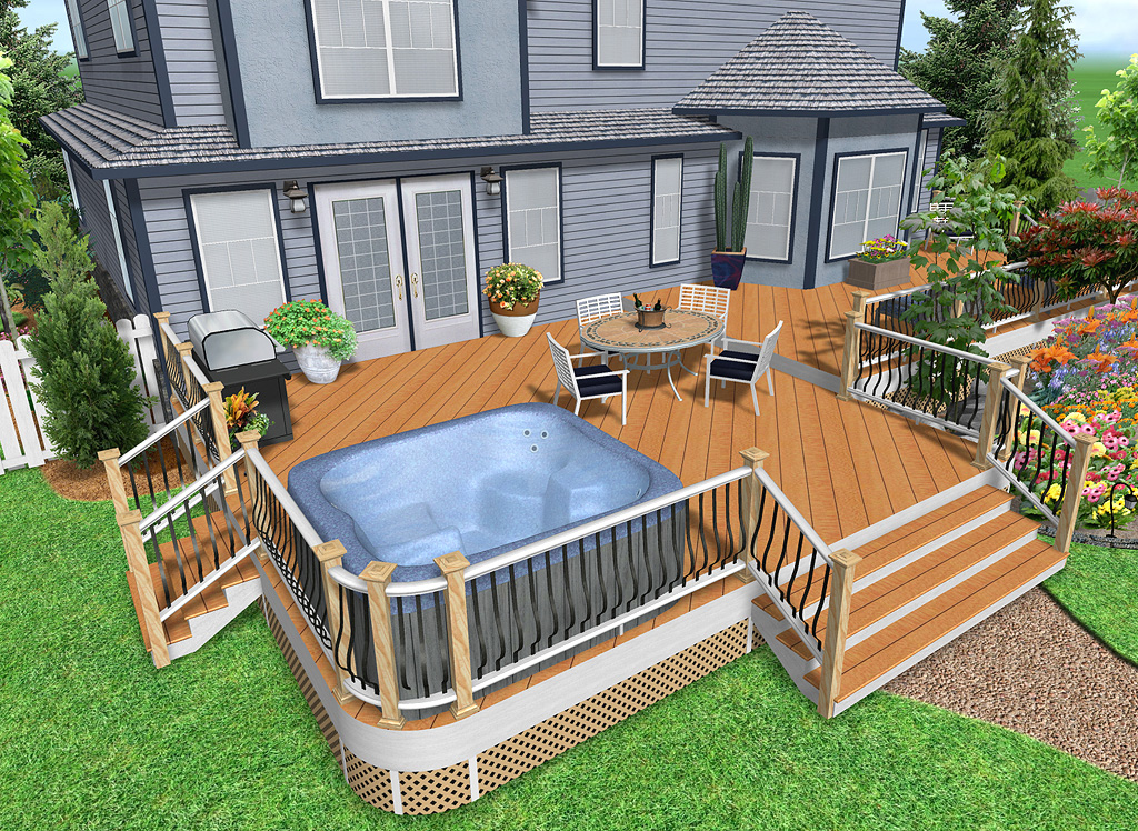 3d deck design for Wood deck designs free