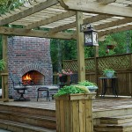 Custom Wood Deck Outdoors Fireplace